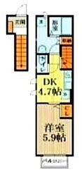 西武国分寺線 鷹の台駅 徒歩17分の賃貸アパート 2階1DKの間取り
