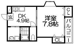 大阪府枚方市須山町の賃貸マンションの間取り