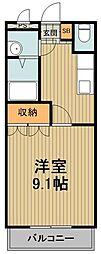 東武東上線 東松山駅 バス15分 パークタウン五領下車 徒歩8分の賃貸アパート 2階1Kの間取り