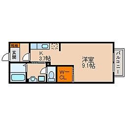 滋賀県長浜市弥高町の賃貸アパートの間取り