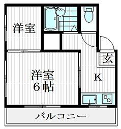 ニュー横井 2階2Kの間取り
