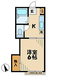 東京都多摩市馬引沢2丁目の賃貸アパートの間取り