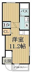 セレーノI・II 1階ワンルームの間取り