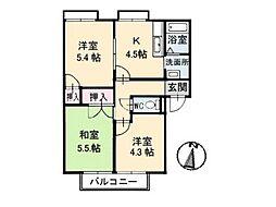 フレグランス羽島台[2階]の間取り