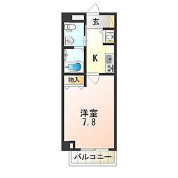 近鉄南大阪線 矢田駅 徒歩7分の賃貸マンション 7階1Kの間取り