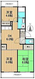 ドルチェ多摩 1階3DKの間取り