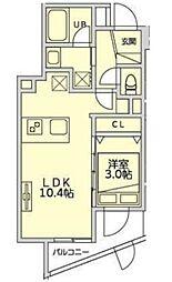 恵比寿YKマンション 地下1階1LDKの間取り