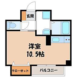 JR東北新幹線 宇都宮駅 徒歩9分の賃貸マンション 1階ワンルームの間取り