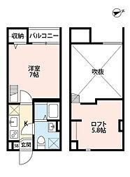 南海線 住ノ江駅 徒歩7分の賃貸アパート 1階1Kの間取り