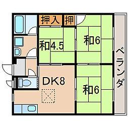 滋賀県栗東市小柿7丁目の賃貸アパートの間取り