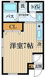 JR中央線 国分寺駅 徒歩9分の賃貸アパート 1階ワンルームの間取り