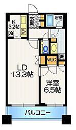 アトラスタワー西新宿 6階1LDKの間取り
