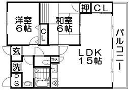 太秦もちの木館[3階]の間取り