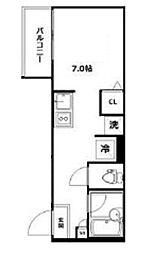 トライシブ南大井7 1階ワンルームの間取り