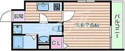 Osaka Metro谷町線 千林大宮駅 徒歩5分の賃貸マンション 1階1Kの間取り