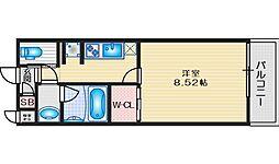 阪急宝塚本線 蛍池駅 徒歩8分の賃貸アパート 1階1Kの間取り