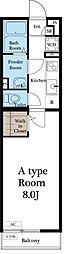 東急田園都市線 たまプラーザ駅 徒歩12分の賃貸アパート 2階1Kの間取り