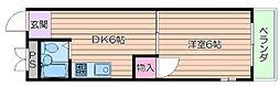 大阪府吹田市山手町1丁目の賃貸アパートの間取り