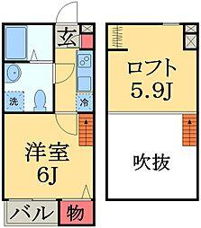 JR総武線 新検見川駅 徒歩13分の賃貸アパート 1階1Kの間取り