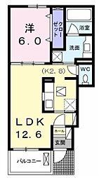 レスポワール 1階2LDKの間取り