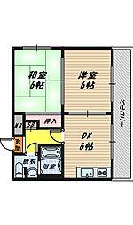 大東マンション1[4階]の間取り