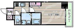 阪急千里線 豊津駅 徒歩9分の賃貸マンション 11階1Kの間取り