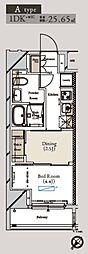 都営大江戸線 月島駅 徒歩1分の賃貸マンション 5階1DKの間取り