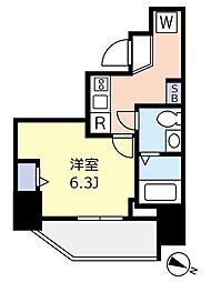 ランヴィ文京千駄木 2階1Kの間取り