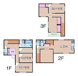 JR東海道・山陽本線 岸辺駅 徒歩10分の賃貸一戸建て 1階ワンルームの間取り