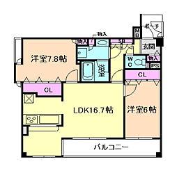 キングマンションフェリシティ西梅田[8階]の間取り