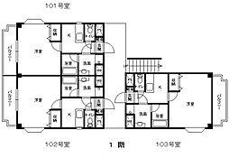 羽犬塚ガーデンハイツIII[103号室]の間取り