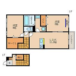 (仮称)彦根市野田山町D-Room 2階2LDKの間取り