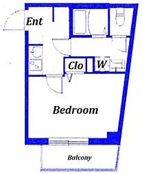 荒川区西尾久デザインアパートメント 2階1Kの間取り