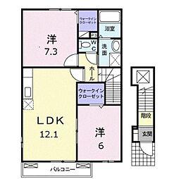 愛知県田原市六連町中郷中の賃貸アパートの間取り