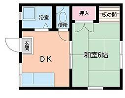 神奈川県横浜市緑区長津田5丁目の賃貸アパートの間取り
