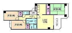 大阪府豊中市桜の町5丁目の賃貸マンションの間取り