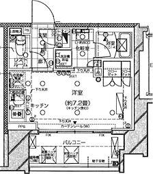 ピアース旗の台 9階ワンルームの間取り