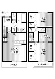 [テラスハウス] 東京都練馬区桜台6丁目 の賃貸【/】の間取り
