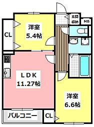 JR東海道・山陽本線 JR総持寺駅 徒歩21分の賃貸マンション 2階2LDKの間取り
