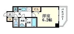 プレサンス心斎橋クオーレ 8階1Kの間取り