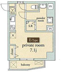 シャトー ドゥ ヴァンベール 3階ワンルームの間取り