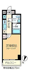 GENOVIA綾瀬skygarden 4階1Kの間取り
