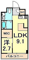 阪神本線 芦屋駅 徒歩9分の賃貸マンション 1階1LDKの間取り