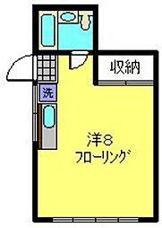 メゾンドパール 1階ワンルームの間取り