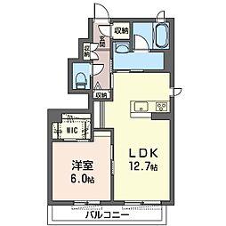 ルミエール 1階1LDKの間取り