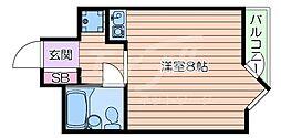 阪急千里線 千里山駅 徒歩10分の賃貸マンション 3階ワンルームの間取り