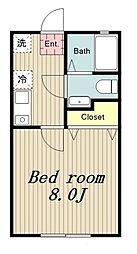 多摩都市モノレール 程久保駅 徒歩1分の賃貸アパート 2階1Kの間取り
