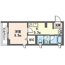 JR武蔵野線 三郷駅 徒歩5分の賃貸マンション 1階1Kの間取り