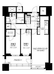 都営大江戸線 春日駅 徒歩1分の賃貸マンション 14階2LDKの間取り