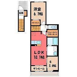 東武宇都宮線 おもちゃのまち駅 徒歩5分の賃貸アパート 2階1SLDKの間取り